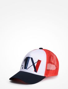 ARMANI EXCHANGE A|X ABSTRACT LOGO TRUCKER HAT Hat Man f