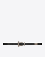SAINT LAURENT Skinny Belts D western belt in black leather and brushed silver-toned metal f