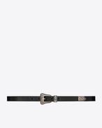 SAINT LAURENT Cinture Small D cintura western nera in pelle e metallo argentato spazzolato f