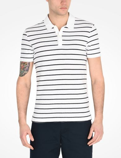 COTTON LINEN STRIPED POLO