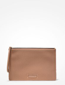 ARMANI EXCHANGE PERFORATED CLUTCH Wristlet Case Woman f