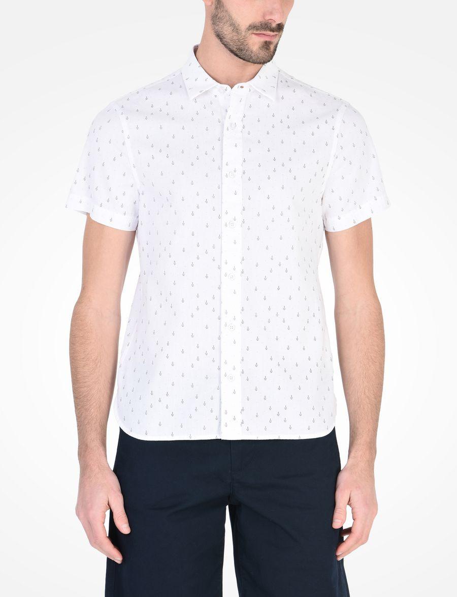 Armani Exchange Anchor Print Slim Fit Shirt Short Sleeve