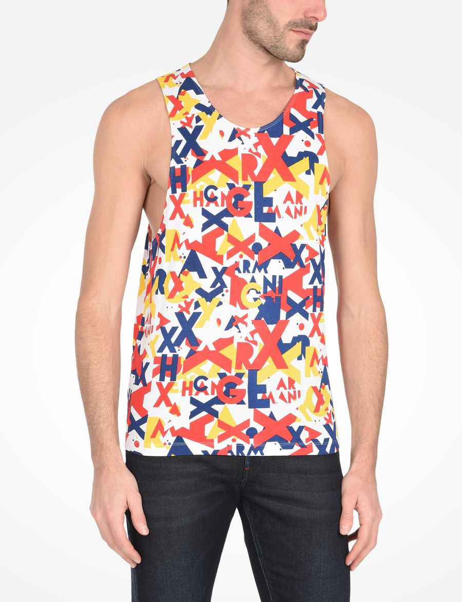6f76981a4cb651 Armani Exchange MULTI COLORED LOGO TANK