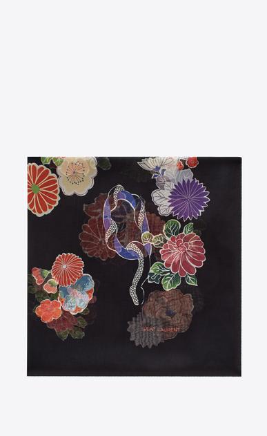 SAINT LAURENT Squared Scarves D LOVE Large Square Scarf in Black and Multicolor Floral Print a_V4