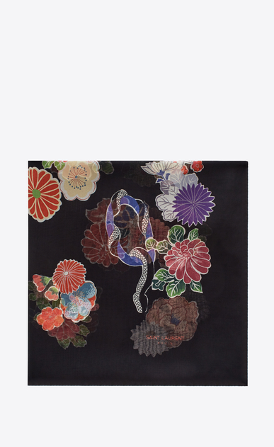 SAINT LAURENT Squared Scarves D LOVE Large Square Scarf in Black and Multicolor Floral Print v4