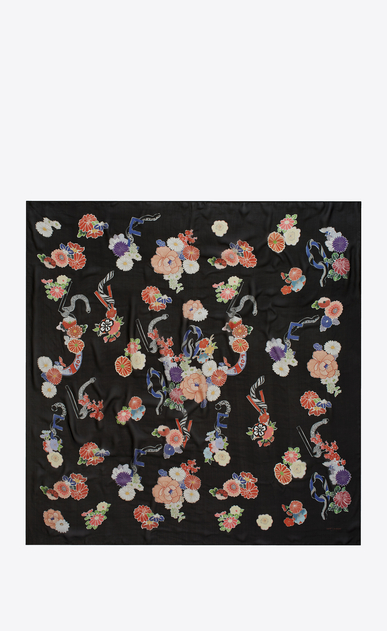 SAINT LAURENT Squared Scarves D LOVE Large Square Scarf in Black and Multicolor Floral Print b_V4