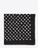 SAINT LAURENT Squared Scarves D POIS Large Square Scarf in Black and Ivory Stamped Polka Dot Star Print f