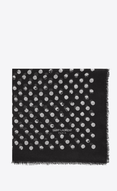 SAINT LAURENT Squared Scarves D POIS Large Square Scarf in Black and Ivory Stamped Polka Dot Star Print a_V4