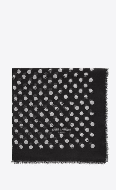 SAINT LAURENT Squared Scarves D POIS Large Square Scarf in Black and Ivory Stamped Polka Dot Star Print v4