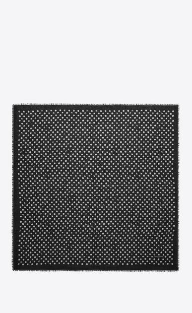 SAINT LAURENT Squared Scarves D POIS Large Square Scarf in Black and Ivory Stamped Polka Dot Star Print b_V4