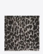 SAINT LAURENT Squared Scarves D ANIMALIER Large Square Scarf in Grey and Black Grand Leopard Print f