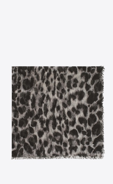 SAINT LAURENT Squared Scarves Woman ANIMALIER Large Square Scarf in Grey and Black Grand Leopard Print a_V4