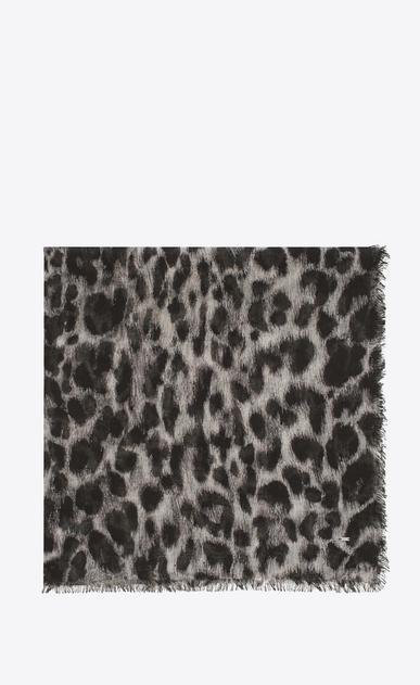 SAINT LAURENT Squared Scarves D ANIMALIER Large Square Scarf in Grey and Black Grand Leopard Print v4