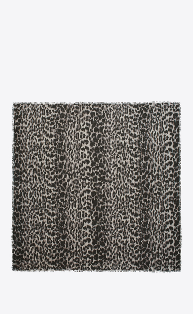 SAINT LAURENT Squared Scarves D ANIMALIER Large Square Scarf in Grey and Black Grand Leopard Print b_V4
