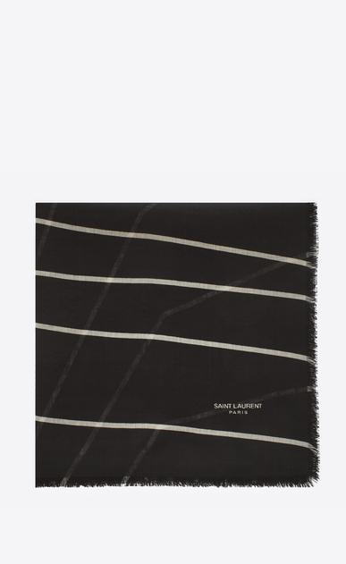 SAINT LAURENT Squared Scarves D ÉTOILE Large Square Scarf in Black and Ivory SAINT LAURENT Star Print a_V4