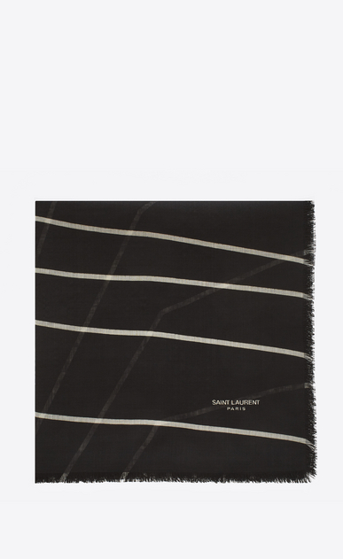SAINT LAURENT Squared Scarves D ÉTOILE Large Square Scarf in Black and Ivory SAINT LAURENT Star Print v4