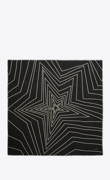 SAINT LAURENT Squared Scarves D ÉTOILE Large Square Scarf in Black and Ivory SAINT LAURENT Star Print b_V4