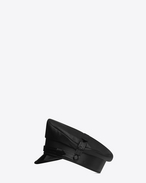 SAINT LAURENT Hats U military hat in black leather f