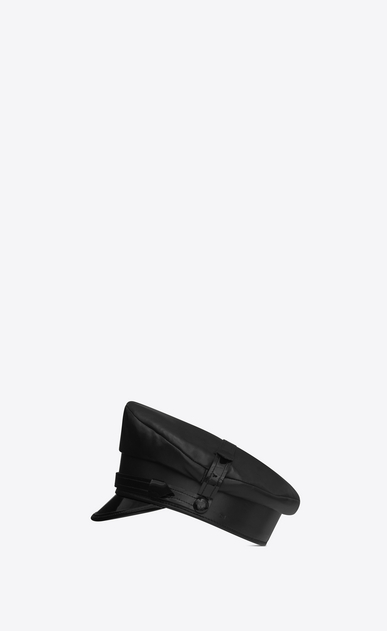 SAINT LAURENT Hats U military hat in black leather a_V4