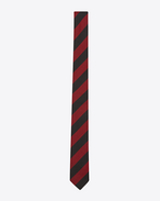SAINT LAURENT Skinny Ties U Skinny Tie in Red and Black Stripe woven jacquard f