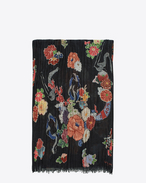 SAINT LAURENT Large scarves U Sciarpa LOVE multicolore a stampa Floral e Serpent f