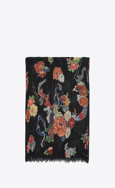SAINT LAURENT Large scarves U Écharpe LOVE à imprimé floral et serpent multicolore a_V4