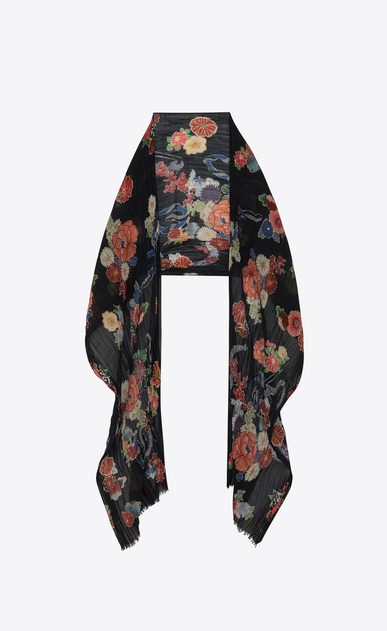 SAINT LAURENT Large scarves U Écharpe LOVE à imprimé floral et serpent multicolore b_V4
