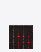 SAINT LAURENT Squared Scarves U Square Scarf in Black and Red Tie Dye Plaid f