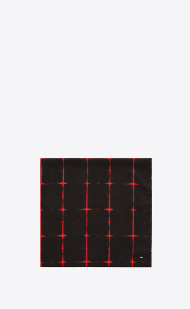 SAINT LAURENT Squared Scarves U Square Scarf in Black and Red Tie Dye Plaid a_V4