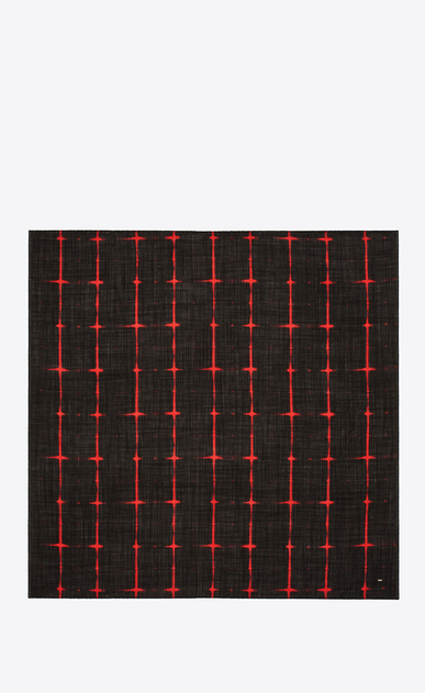 SAINT LAURENT Squared Scarves U Square Scarf in Black and Red Tie Dye Plaid b_V4
