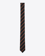 SAINT LAURENT Skinny Ties U Skinny Tie in Black and Red Vintage Stripe silk f