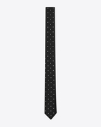 SAINT LAURENT Skinny Ties U Black and White Polka Dot wool silk jacquard f