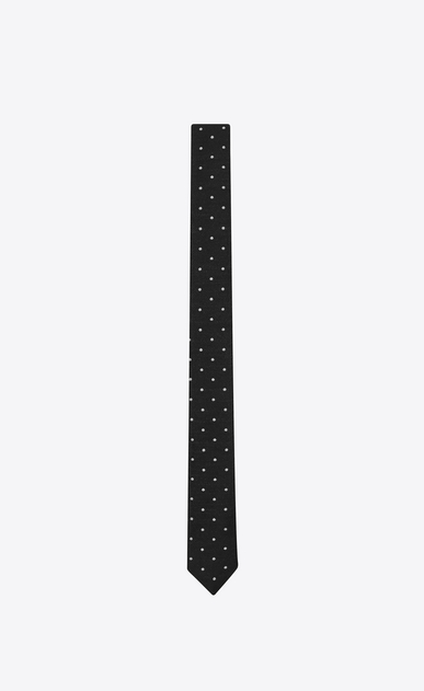 SAINT LAURENT Skinny Ties U Black and White Polka Dot wool silk jacquard a_V4