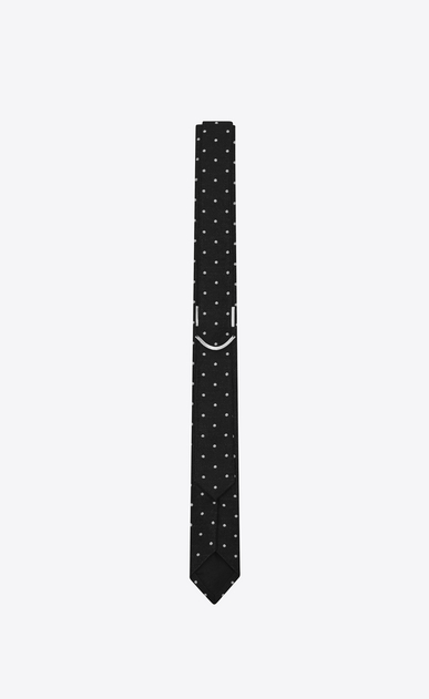 SAINT LAURENT Skinny Ties U Black and White Polka Dot wool silk jacquard b_V4