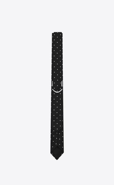 SAINT LAURENT Cravates Skinny U Cravate fine en jacquard de laine et soie à pois noirs et blancs b_V4