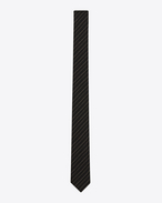 SAINT LAURENT Skinny Ties U Skinny Tie in Black and Gold Tennis Stripe f
