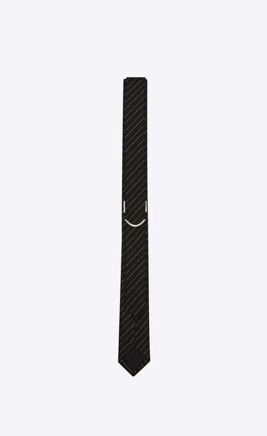 SAINT LAURENT Skinny Ties U Skinny Tie in Black and Gold Tennis Stripe b_V4