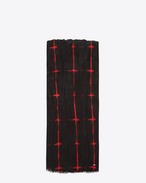 SAINT LAURENT Large scarves U Signature Pleated Scarf Black and Red Tie Dye Plaid f
