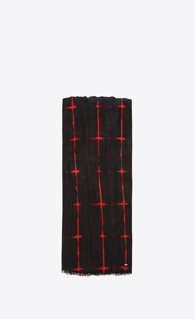 SAINT LAURENT Large scarves U Écharpe plissée à carreaux tie and dye noirs et rouges a_V4