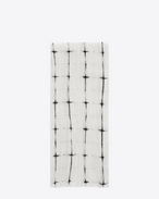 SAINT LAURENT Large scarves U Signature Pleated Scarf in White and Black Tie Dye Plaid f