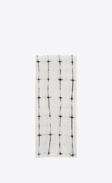 SAINT LAURENT Large scarves U Signature Pleated Scarf in White and Black Tie Dye Plaid a_V4
