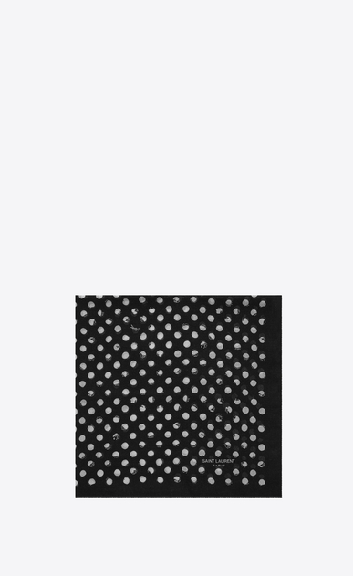 SAINT LAURENT Squared Scarves U POIS Scarf in Black and White Stamped Polka Dot Print wool a_V4