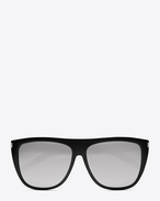 SAINT LAURENT Sunglasses E new wave 1 sunglasses in shiny black acetate with mirror extra white lenses f