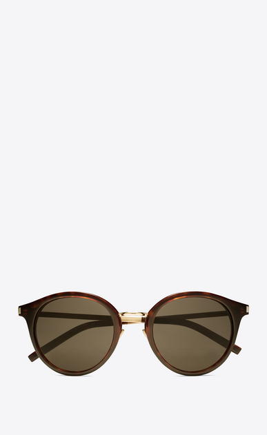 SAINT LAURENT CLASSIC E classic 57 sunglasses in shiny classic havana acetate and gold steel with mirror bronze lenses a_V4