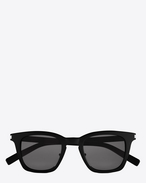 SAINT LAURENT CLASSIC E CLASSIC 138 Slim Sunglasses in Shiny Black Acetate with Smoke Lenses f