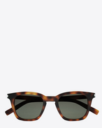 SAINT LAURENT CLASSIC E CLASSIC 138 Slim Sunglasses in Shiny Medium Havana Acetate with Green Lenses f