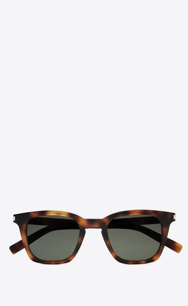 SAINT LAURENT CLASSIC E classic 138 slim sunglasses in shiny medium havana acetate with green lenses a_V4