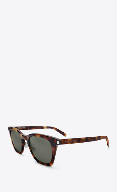 SAINT LAURENT CLASSIC E classic 138 slim sunglasses in shiny medium havana acetate with green lenses b_V4
