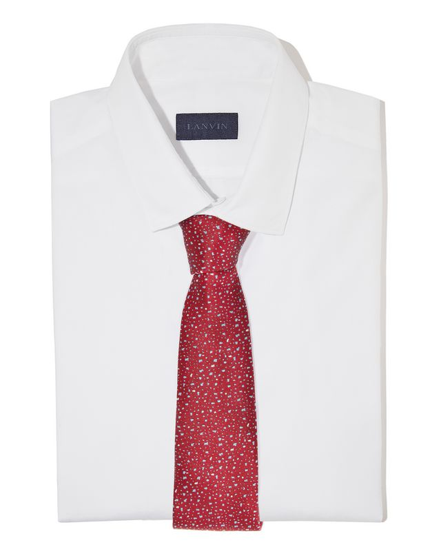 LANVIN RED HAIL PATTERN TIE Tie U r