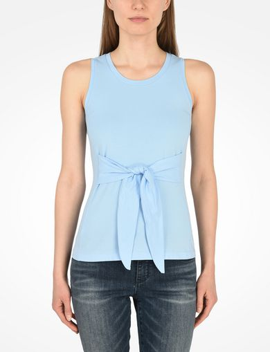 SLEEVELESS TIE WAIST TOP